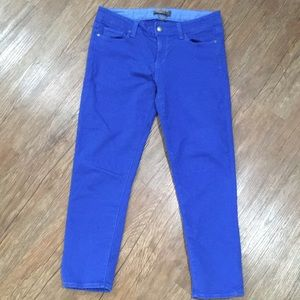 Blue cropped skinny jeans